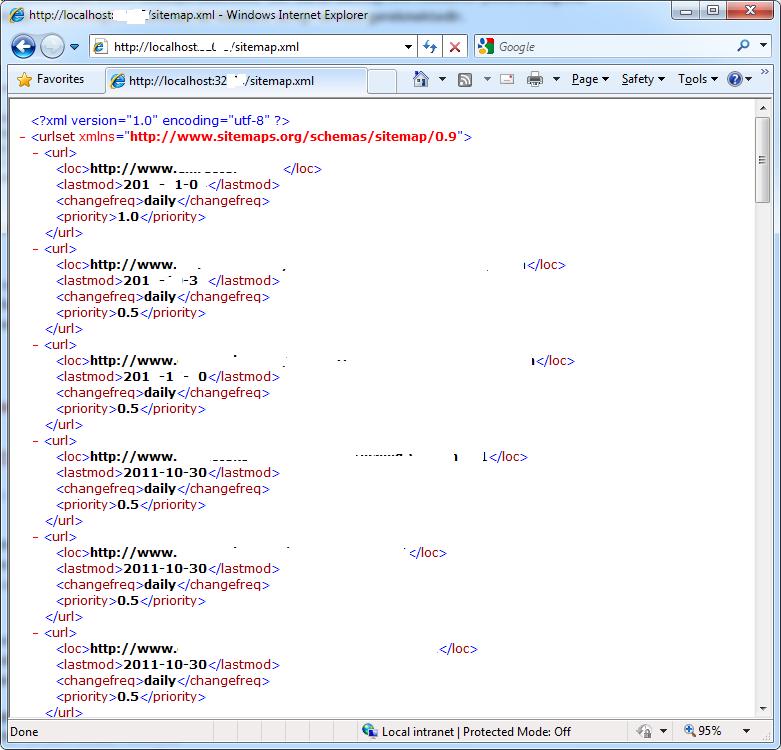 sitemap.xml görüntüsü